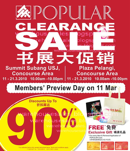 11 - 21 Mar: Popular Clearance Sale