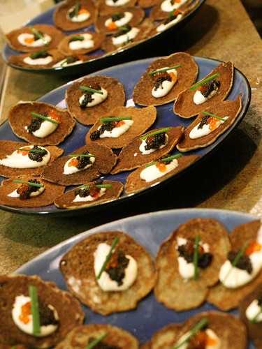 Buckwheat Blini with 2 Caviars!