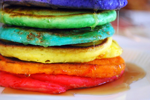 Stack of Rainbow Pancakes