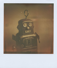 Grahm's Robot (jeffreywithtwof's) Tags: blackandwhite test film jeff sepia analog vintage toy tin robot hutton tintoy px100 instantfilm testfilm firstflush jeffhutton integralfilm polaroid680se theimpossibleproject formula40 jeffhuttonphotography theimpossiblecollection jeffreyhutton