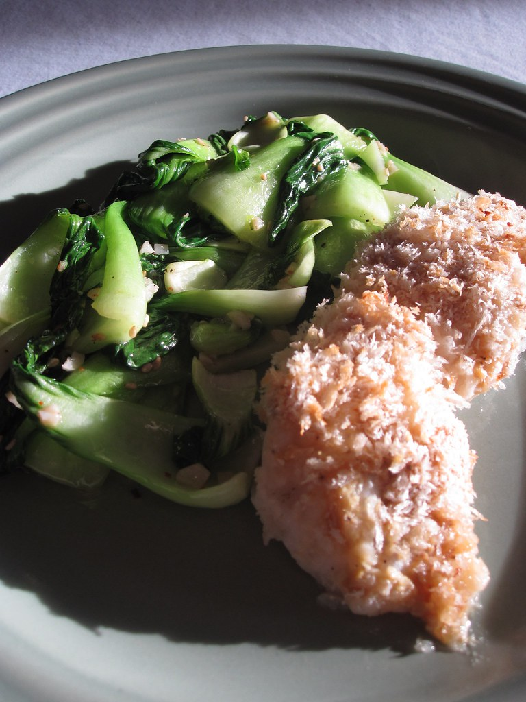 panko-crusted cod with bok choy