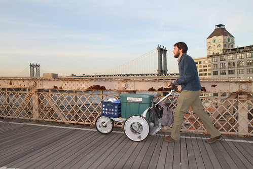 Heading off over the Brooklyn Bridge
