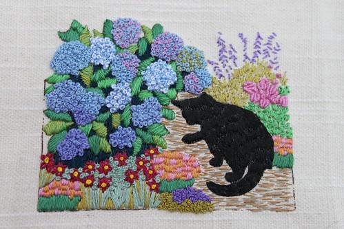 Cat by the Hydrangea Bush - complete 3-26-10