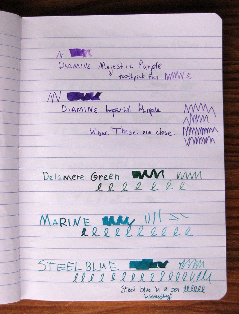 5 Diamine inks in ink journal, III