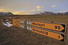 Iceland Road Sign on Route 1 between Akureyri and Reykjavik (Wildernesscapes Photography) Tags: road sign iceland traffic reykjavik distance akureyri icelandic