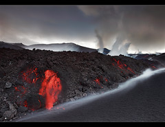 A Rock is Born - Eyjafjallajkull Eruption (orvaratli) Tags: travel mountain snow hot ice rock stone landscape volcano lava iceland glacier eruption magma basalt katla molten icelandic lavafield eyjafjallajkull eyjafjallajokull myrdalsjokull arcticphoto rvaratli orvaratli
