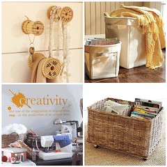 Sewing/Craft Room Storage Ideas (Heath & the B.L.T. boys) Tags: wood inspiration office basket sewing crafts decorate hooks organize potterybarn casters