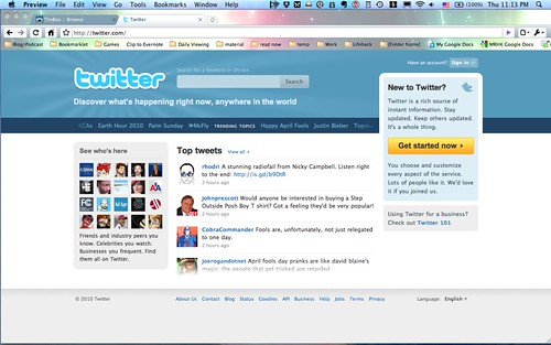 Twitter Homepage - April 1st, 2010