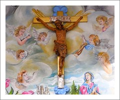Jesus on Bavarian Mural (Ginas Pics) Tags: art angel clouds germany religious temple bavaria mural heaven christ god maria religion jesus christian holy angels sacred getty gods inri spiritual deity oberammergau goodfriday karfreitag travelphotography cruzifix cruzification jesusonbavarianmural gettyimagesgermanyq1