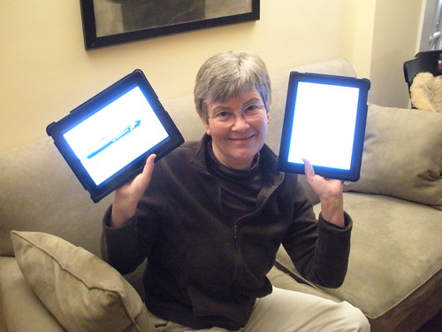 Betsy with TWO iPads