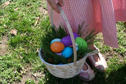 Wheatgrass-filled Easter basket in action