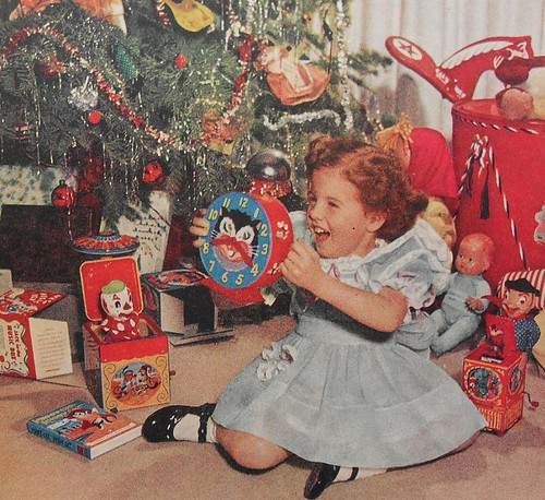 1950s Christmas Morning Girl Kiddie Clock Toys Vintage Photo Jack In The Box