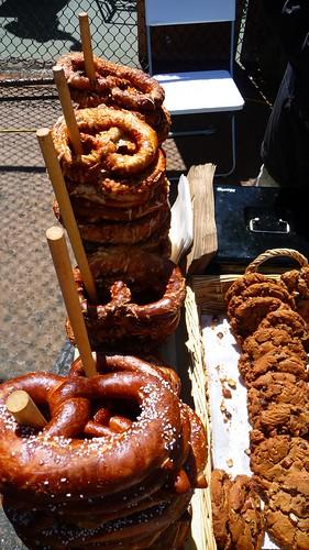 Stacks of pretzels