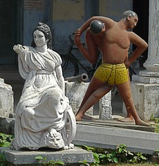 Kushti Wrestlers with Lady at Murshidabad, West Bengal (Sekitar) Tags: shirtless sculpture india man west male statue lady wrestling indian wrestler bengal akhara sekitar kusthi kushti kusti murshidabad pehlwani sekitar