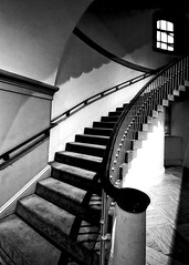 Witching Hour At The Portrait Gallery (Baab1) Tags: windows blackandwhite monochrome lines stairs portraits evening washingtondc shadows surrealism curves steps museums staircases eveninglight nationalportraitgallery windowlight stairways nationscapital nationalmuseums