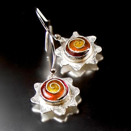 Enamel Cloisonne Silver Swirl Flower Earrings