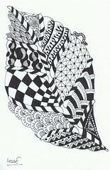 leaf (Jo in NZ) Tags: blackandwhite doodle zentangle nzjo