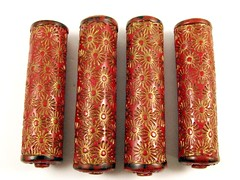 P&P Components - Firecrackers Red and Gold Focal Beads