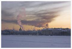 171 (AnkhaiStenn) Tags: winter sunset cloud sun house snow tree ice church saint fog sunrise river dark cathedral russia snowdrift petersburg dust russian neva admirality