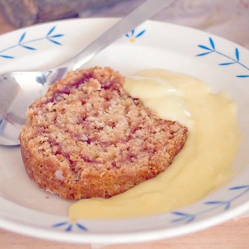 gluten-free jam roly-poly & custard