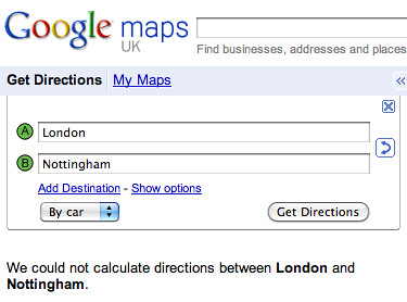 Google Maps London to Nottingham