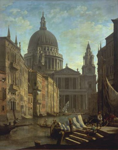 """Capriccio: St Paul's and a Venetian Canal"" by William Marlow"
