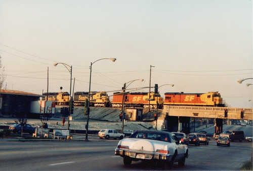 The merger that never materialized. A,T & S,F color schemes at Corwith Yard. Chicago Illinois. April 1987. by Eddie from Chicago