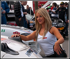 Michelle Westby (Klingon50) Tags: girls sexy car grid boobs smiles racing blonde fishnets shorts brunette oultonpark promogirls modifiedlive michellewestby