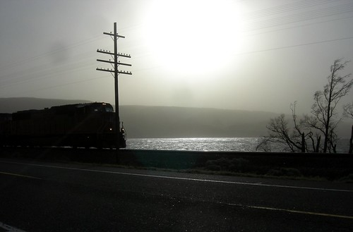 Train, sun and dust