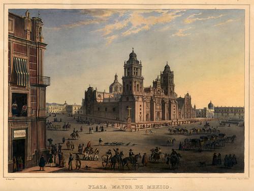 018-Plaza Mayor de Mexico-Voyage pittoresque et archéologique dans la partie la plus intéressante du Mexique1836-Carl Nebel