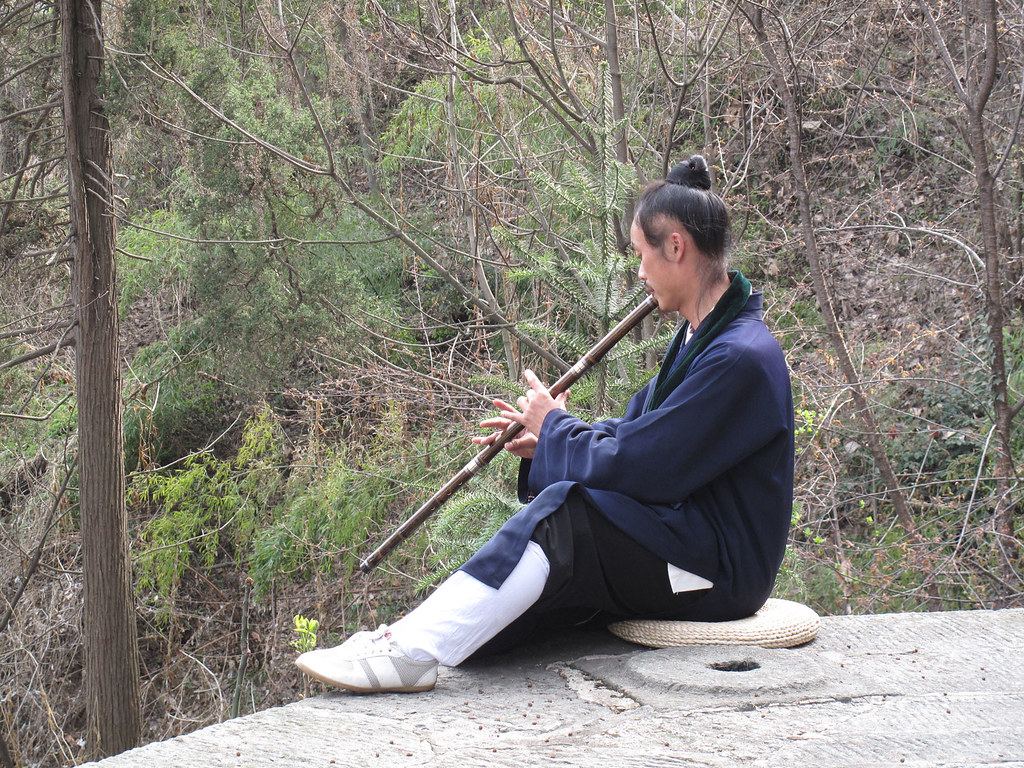Master Zhong practicing his flute