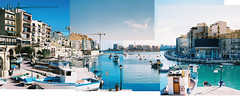 a collage of spinola bay in malta. (JoshCollins!) Tags: blue water collage boats bay minolta minoltax700 malta cranes spinola x700 mediterannean spinolabay