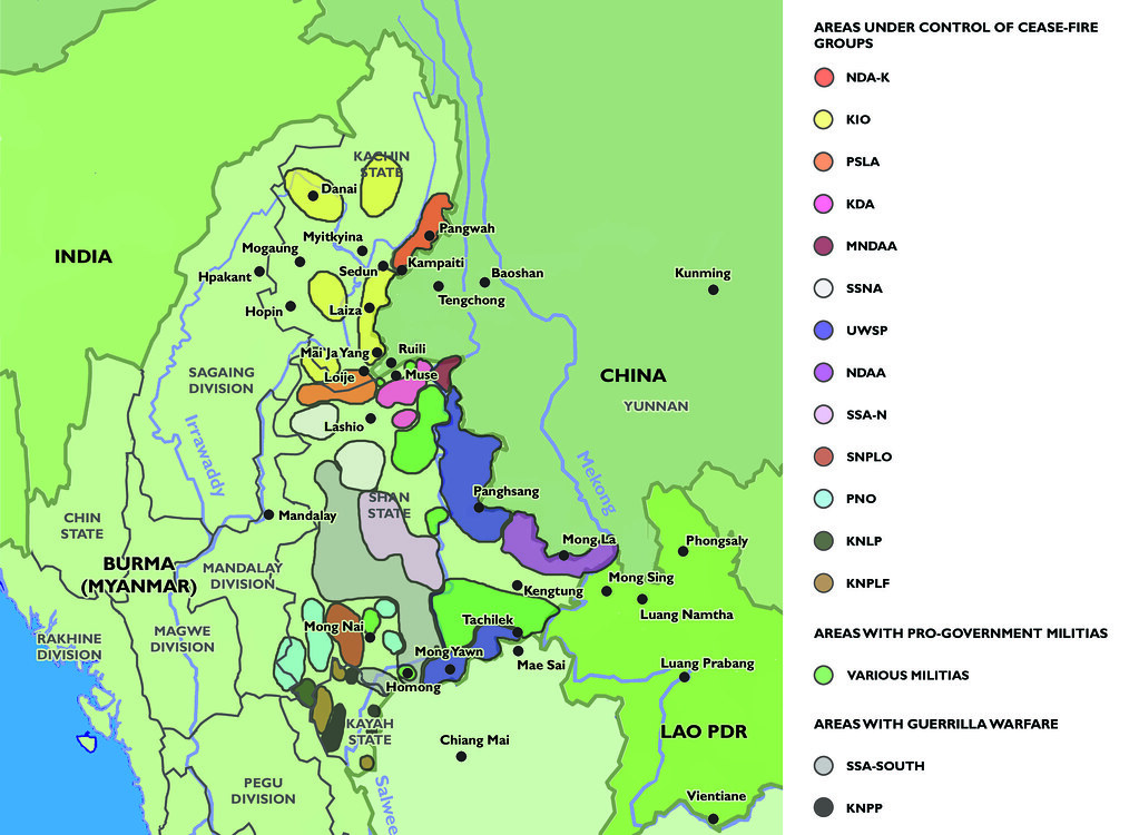 Ceasefire Map showing the complex arrangement of land held by ceasefire groups