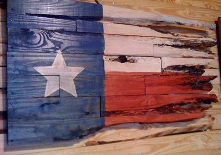 Wooden Texas Flag View 1 - Game Room