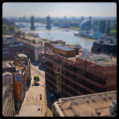 Tower Bridge [Mini] (Edd Noble) Tags: morning blur london monument thames photoshop towerbridge 35mm miniature nikon sunny masks hmsbelfast f2 nikkor depth d3 lensblur