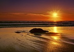 Glorious Sunset (redsnappa61) Tags: sunset sea england sun beach water rock sand cornwall sw sennen towan carn mywinners