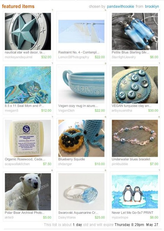 An Icy Vegan Etsy Treasury