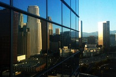 View from WP24 (Pedestrian Photographer) Tags: ca camera mountains building skyscraper buildings hotel mirror la losangeles los downtown carlton mt phone skyscrapers floor angeles live cam north 110 hwy reflect ritz 24 puck wp 24th wolfgang mts wolfgangpuck iphone fwy ca110 wp24