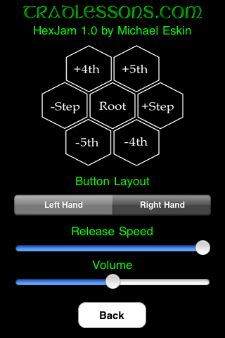 HexJam Settings Screen
