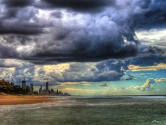 impending storms (paul bica) Tags: ocean city storm tourism beach nature water clouds outdoors sand skyscrapers pacific ominous menacing au australia best queensland drama dex downunder eastcoast surfersparadise goldcoast impending sunshinestate dexxus australiathunderstorms magicunicornverybest cloudsstormssunsetssunrises 20100510au110079hdr exploredjun52010151