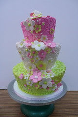 topsy turvy swirls flowers pink green (CAKE Amsterdam - Cakes by ZOBOT) Tags: birthday wedding party feest cakes cake utrecht celebration marzipan mad stacked hatter specialty topsy fondant tiered taart turvy taarten sweetthings zoegottehrer