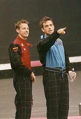Jenson Button and Robbie Williams (f1jherbert) Tags: robbiewilliams jensonbutton johnnyherbertkartingevent2002