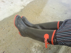 Wellingtons in Rottingdean (teaselbrush) Tags: seaside sand shiny mud boots stripes tights rubber dirty dirt wellingtonboots filth gummi lacy wellies wellingtons saltdean rottingdean girlinwellies