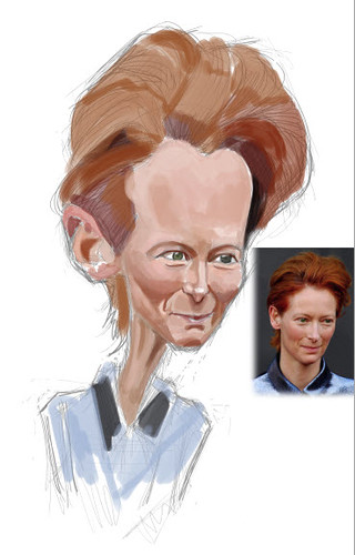 digital caricature of Tilda Swinton - 1