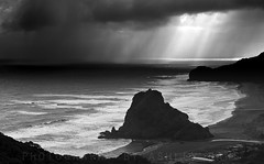 Rain at Piha (Ashley Daws) Tags: ocean new sea sky bw cloud white storm black water rain coast surf waves zealand nz piha