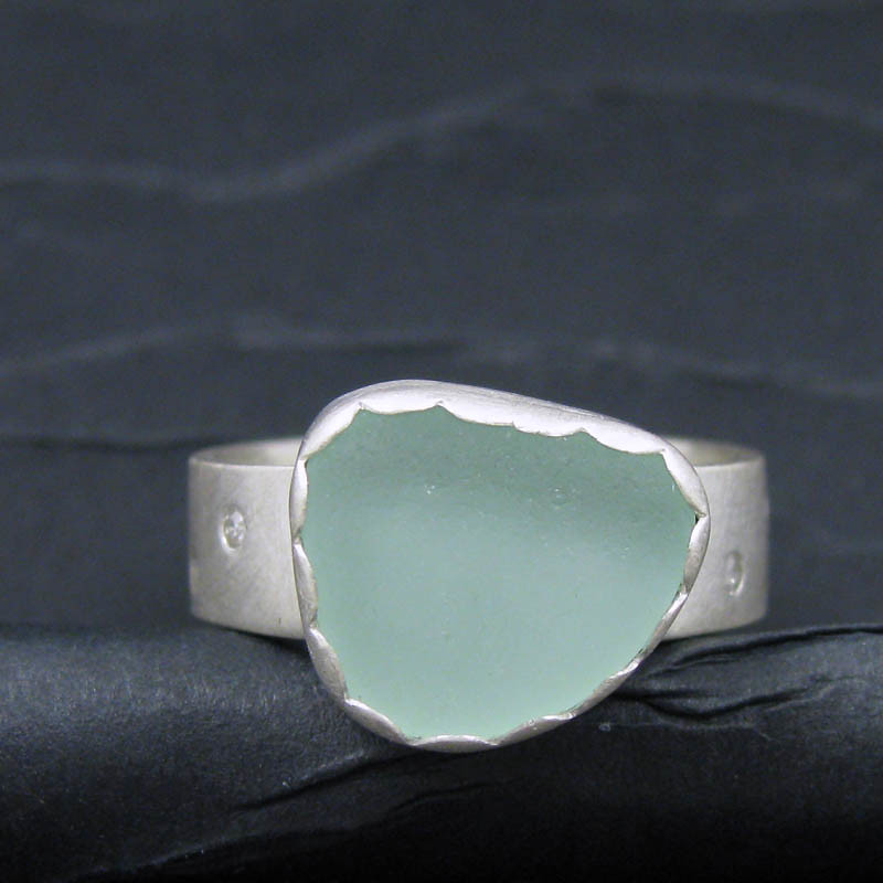 sea foam and diamonds sterling silver ring. front