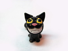 Psycho Cat (DragonsAndBeasties) Tags: pet black halloween cat crazy scary kitten funny teeth kitty gift etsy custom beccagolins