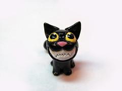 Psycho Cat (DragonsAndBeasties) Tags: pet black halloween cat crazy scary kitten funny teeth kitty gift etsy custom beccagolins
