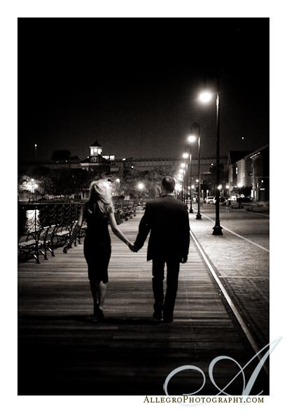 maren-steve-boston-e-session- nighttime in charlestown- engagement photos on the pier