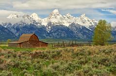 Sunday at John Moulton Barn (Jeff Clow) Tags: ranch landscape farm wyoming tetons grandtetonnationalpark mormonrow 5exp jacksonholewyoming jeffrclow johnmoultonbarn 2010dcpt
